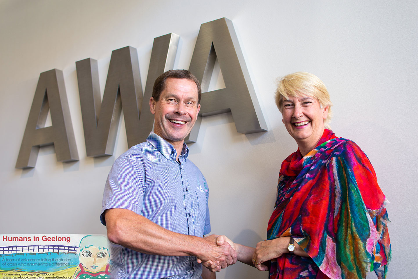 Graeme Scannell (CEO AWA Alliance Bank) congratulating Jacqui Bennett